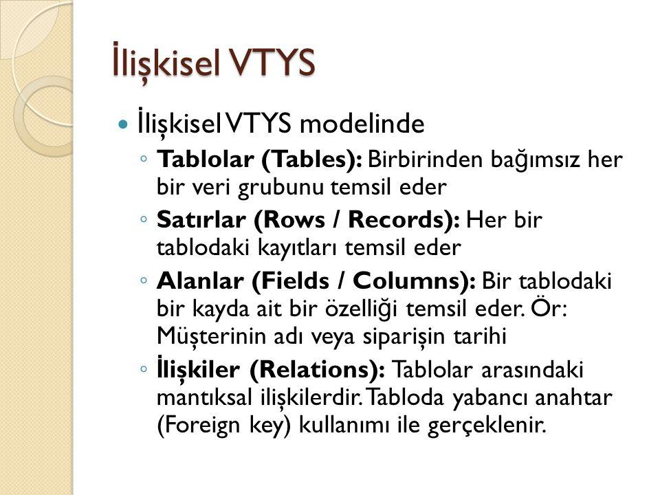İlişkisel VTYS İlişkisel VTYS modelinde