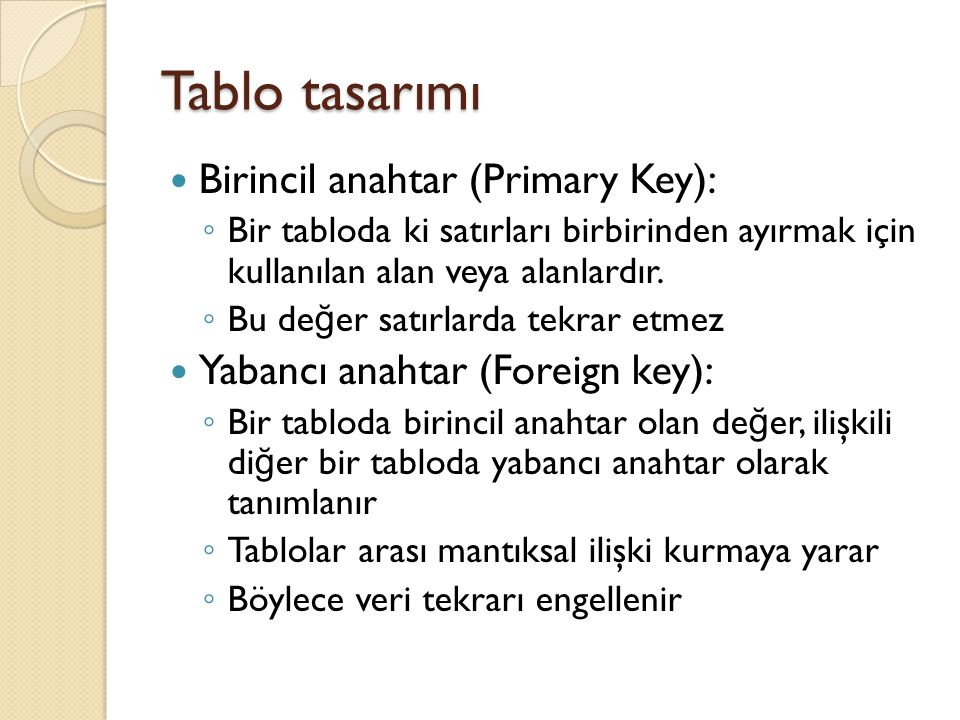Tablo tasarımı Birincil anahtar (Primary Key):