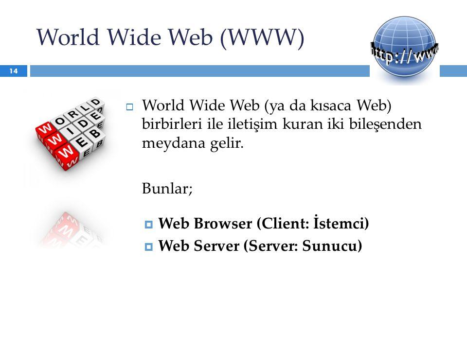 World Wide Web (WWW) World Wide Web (ya da kısaca Web) birbirleri ile iletişim kuran iki bileşenden meydana gelir.