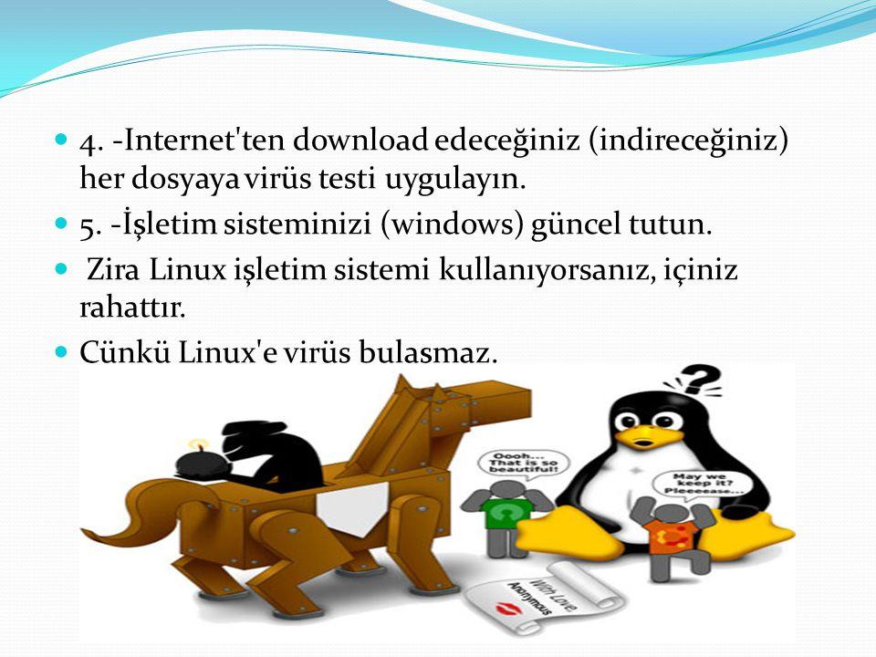 4. -Internet ten download edeceğiniz (indireceğiniz) her dosyaya virüs testi uygulayın.