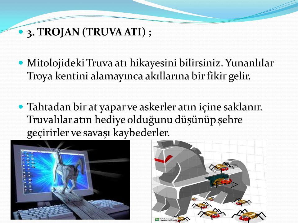 3. TROJAN (TRUVA ATI) ; Mitolojideki Truva atı hikayesini bilirsiniz. Yunanlılar Troya kentini alamayınca akıllarına bir fikir gelir.