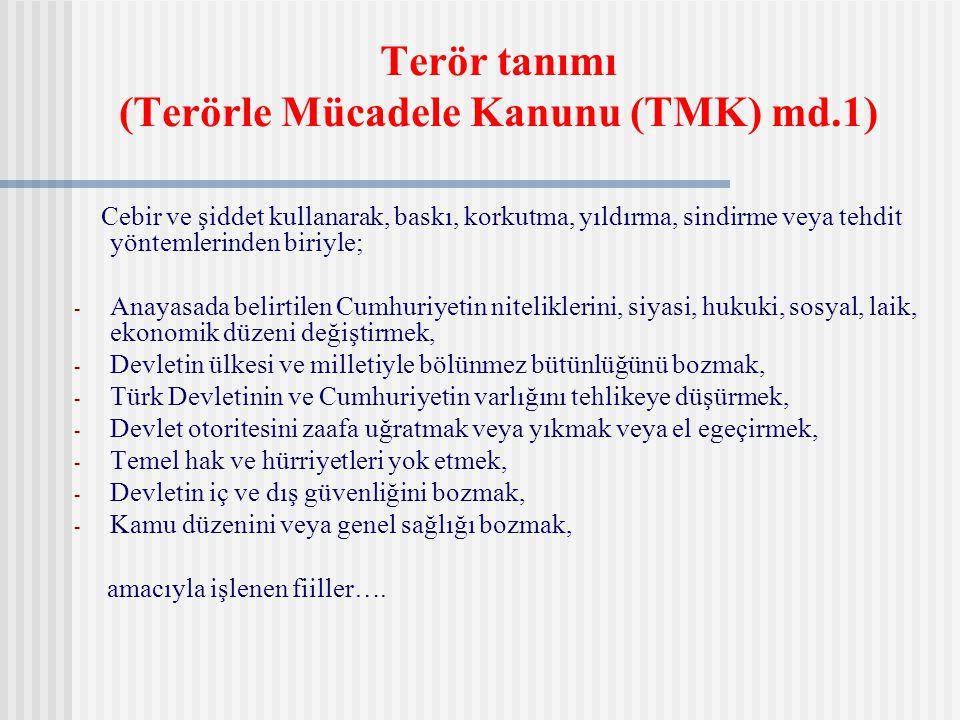 Terör tanımı (Terörle Mücadele Kanunu (TMK) md.1)
