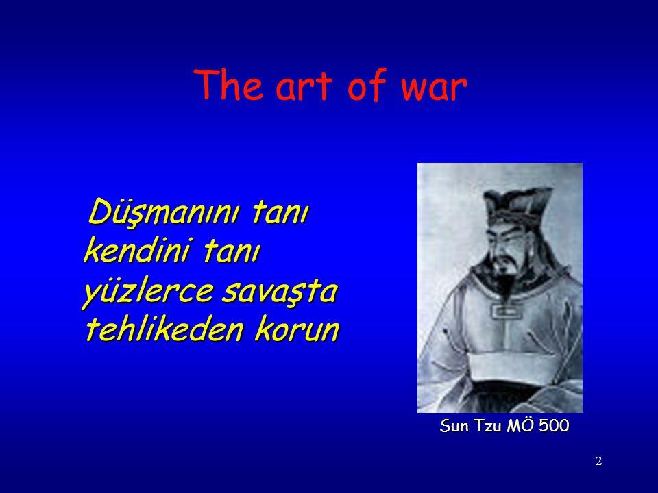 The art of war Düşmanını tanı kendini tanı yüzlerce savaşta tehlikeden korun Sun Tzu MÖ 500