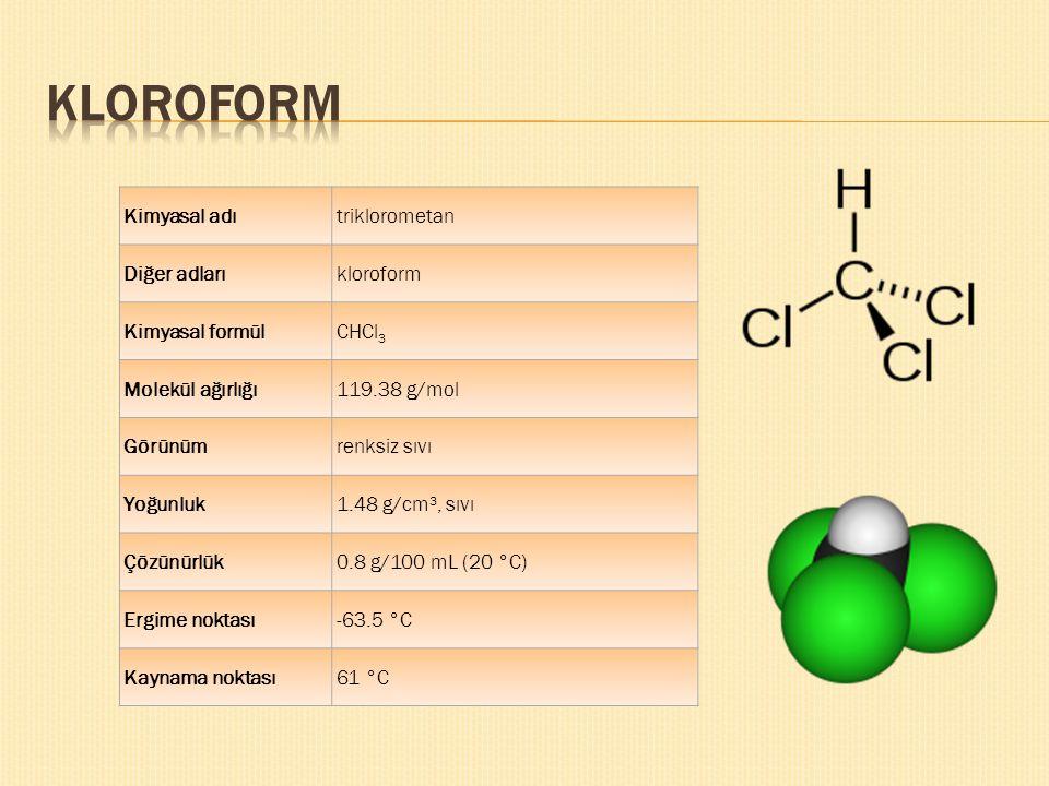 KLOROFORM Kimyasal adı triklorometan Diğer adları kloroform