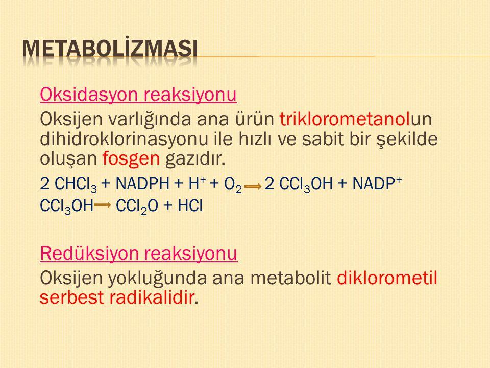 METABOLİZMASI Oksidasyon reaksiyonu