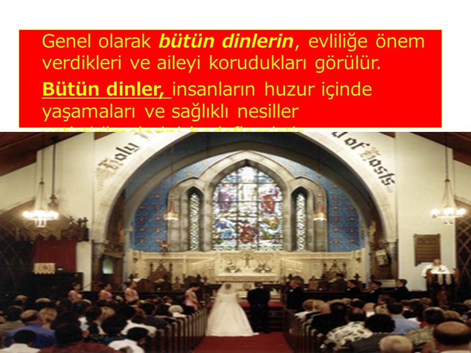 Genel olarak bütün dinlerin, evliliğe önem verdikleri ve aileyi korudukları görülür.