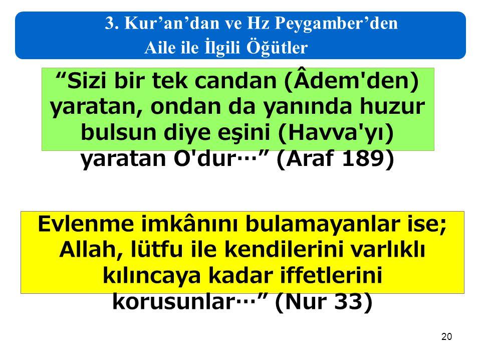 3. Kur'an'dan ve Hz Peygamber'den Aile ile İlgili Öğütler