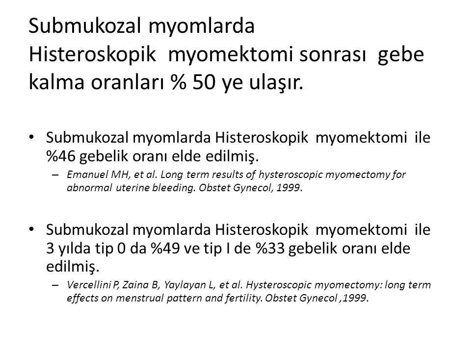 Submukozal myomlarda Histeroskopik myomektomi sonrası gebe kalma oranları % 50 ye ulaşır.
