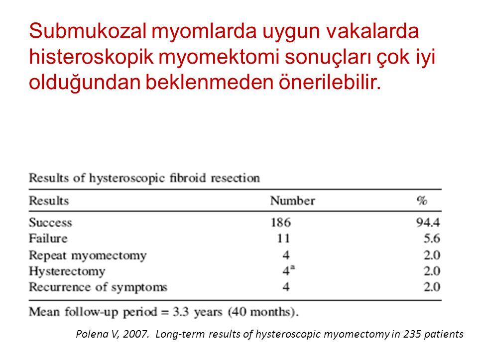 Submukozal myomlarda uygun vakalarda histeroskopik myomektomi sonuçları çok iyi olduğundan beklenmeden önerilebilir.