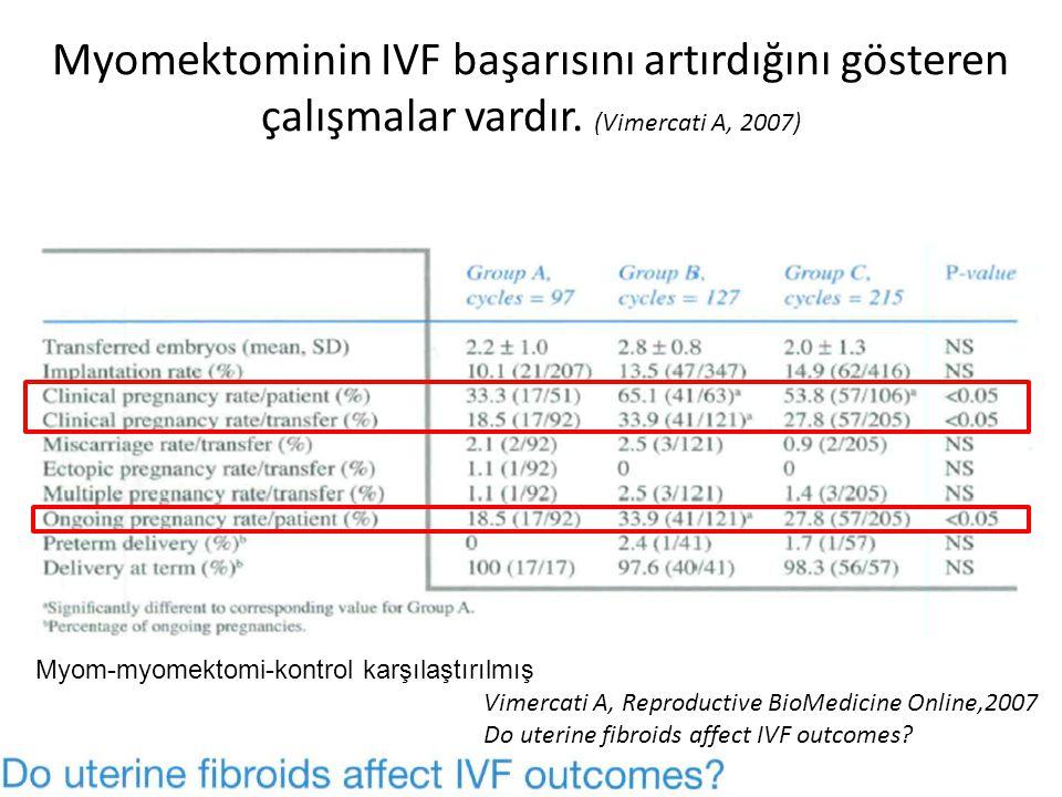 Myomektominin IVF başarısını artırdığını gösteren çalışmalar vardır