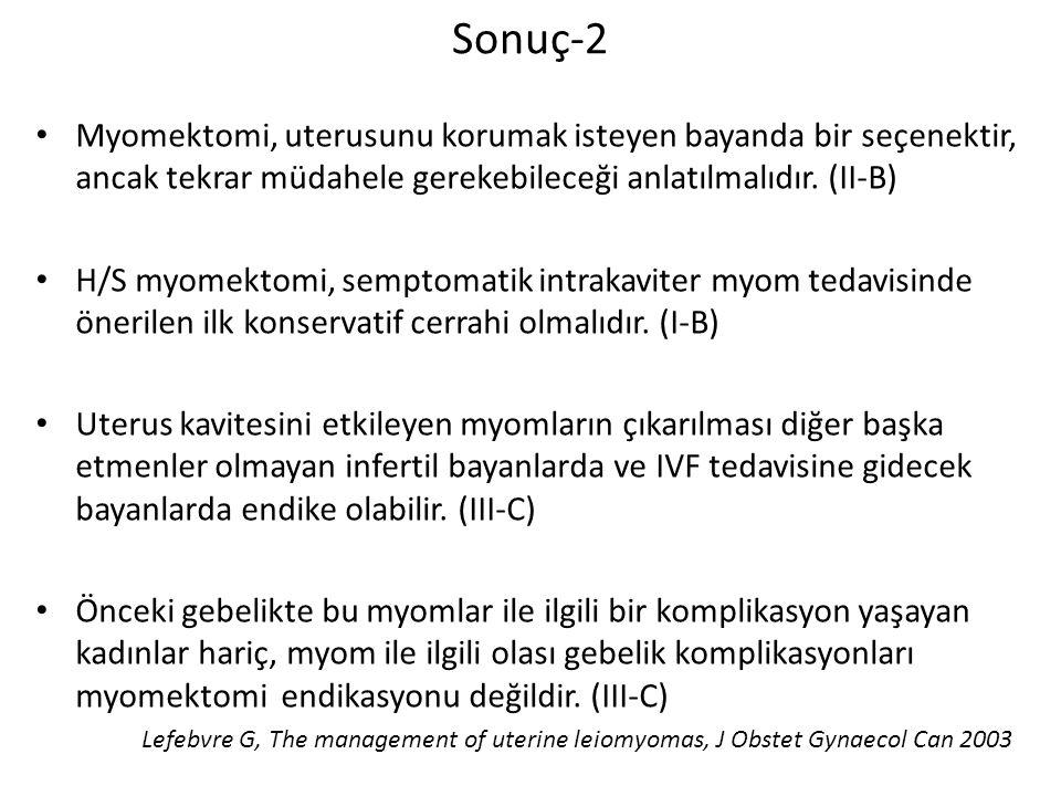 Sonuç-2 Myomektomi, uterusunu korumak isteyen bayanda bir seçenektir, ancak tekrar müdahele gerekebileceği anlatılmalıdır. (II-B)