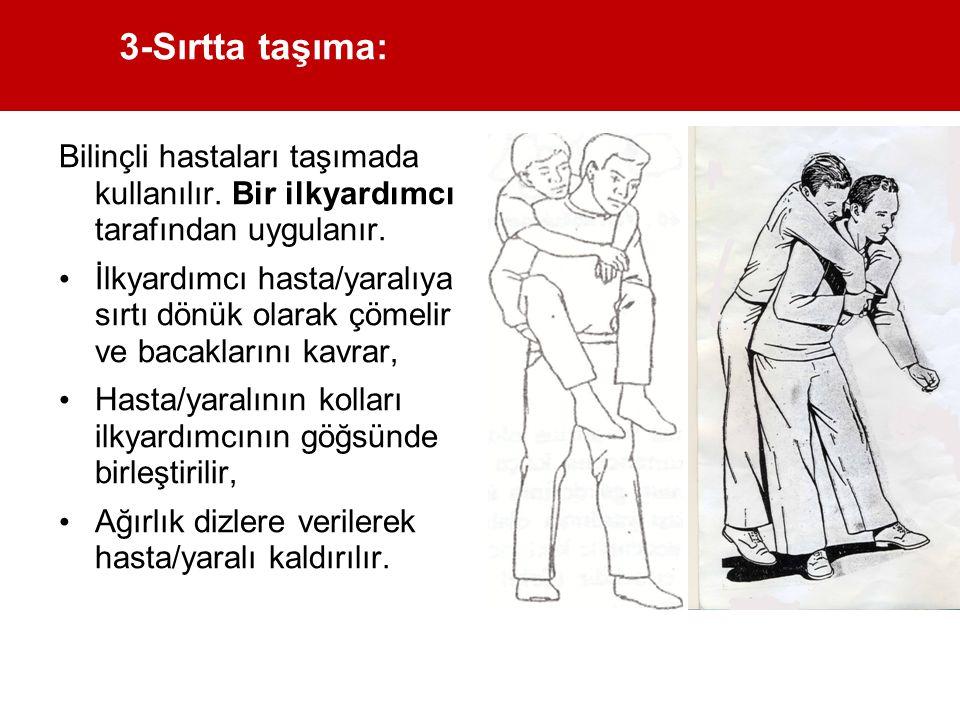 3-Sırtta taşıma: Bilinçli hastaları taşımada kullanılır. Bir ilkyardımcı tarafından uygulanır.