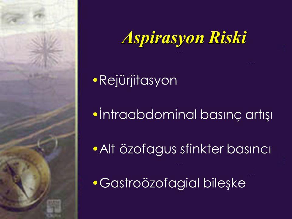 Aspirasyon Riski Rejürjitasyon İntraabdominal basınç artışı