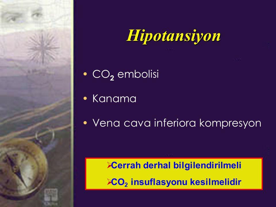 Cerrah derhal bilgilendirilmeli CO2 insuflasyonu kesilmelidir