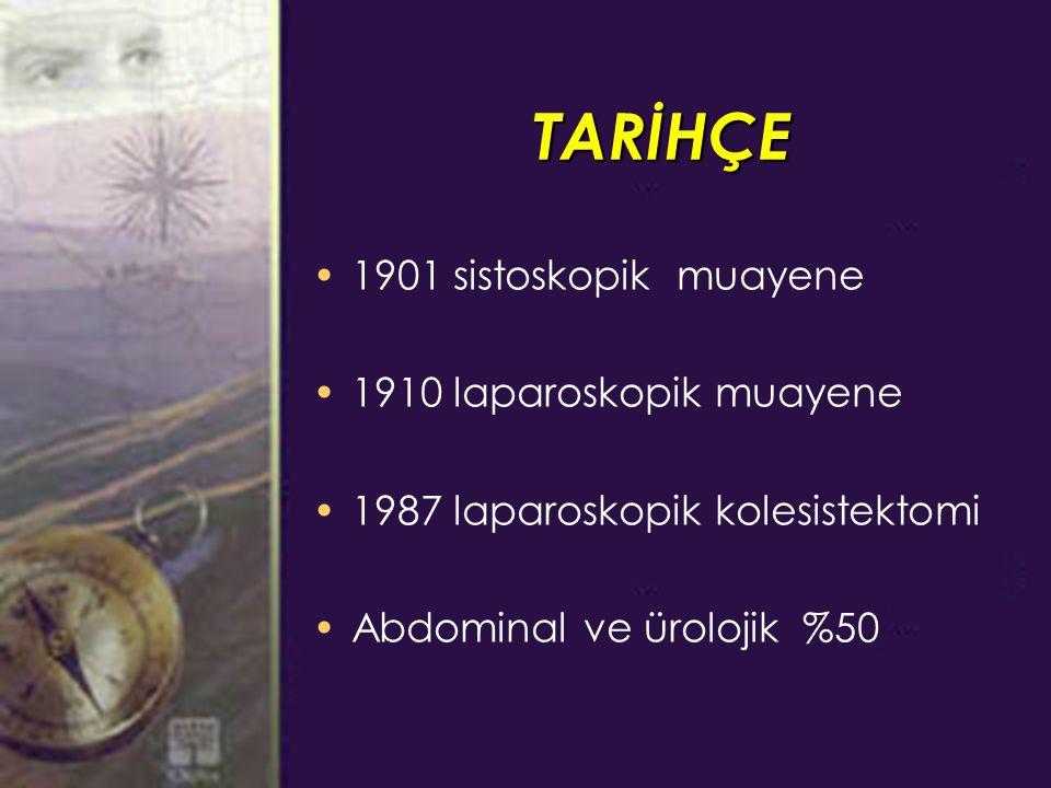 TARİHÇE 1901 sistoskopik muayene 1910 laparoskopik muayene