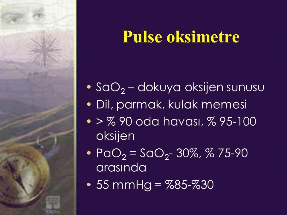 Pulse oksimetre SaO2 – dokuya oksijen sunusu Dil, parmak, kulak memesi