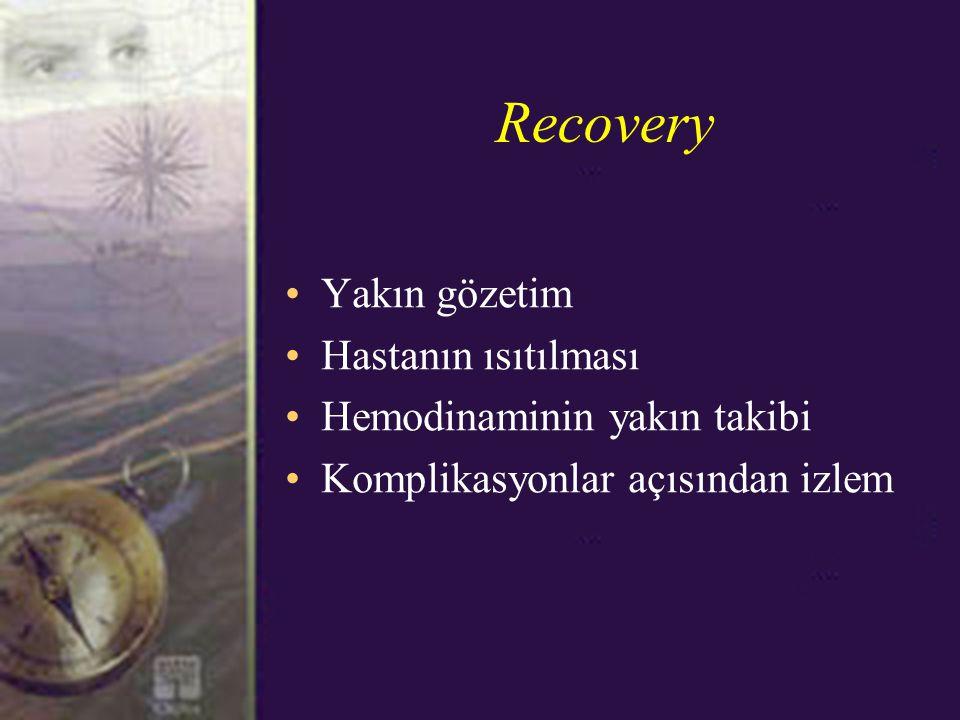 Recovery Yakın gözetim Hastanın ısıtılması Hemodinaminin yakın takibi