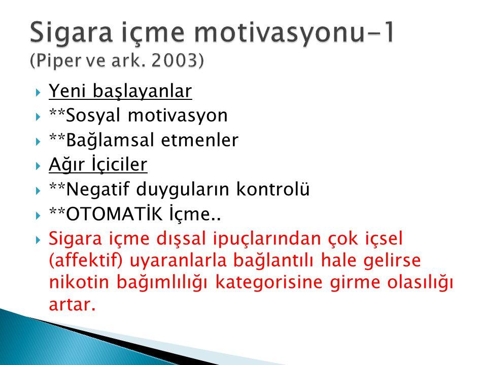 Sigara içme motivasyonu-1 (Piper ve ark. 2003)