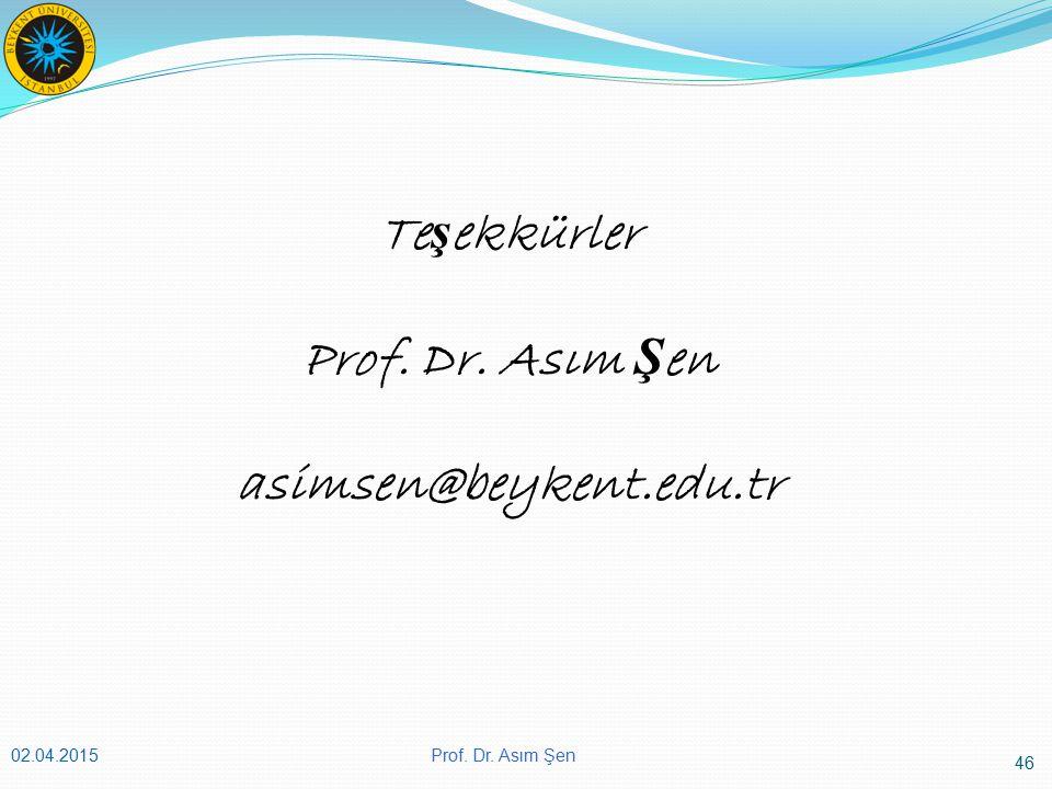 Teşekkürler Prof. Dr. Asım Şen asimsen@beykent.edu.tr