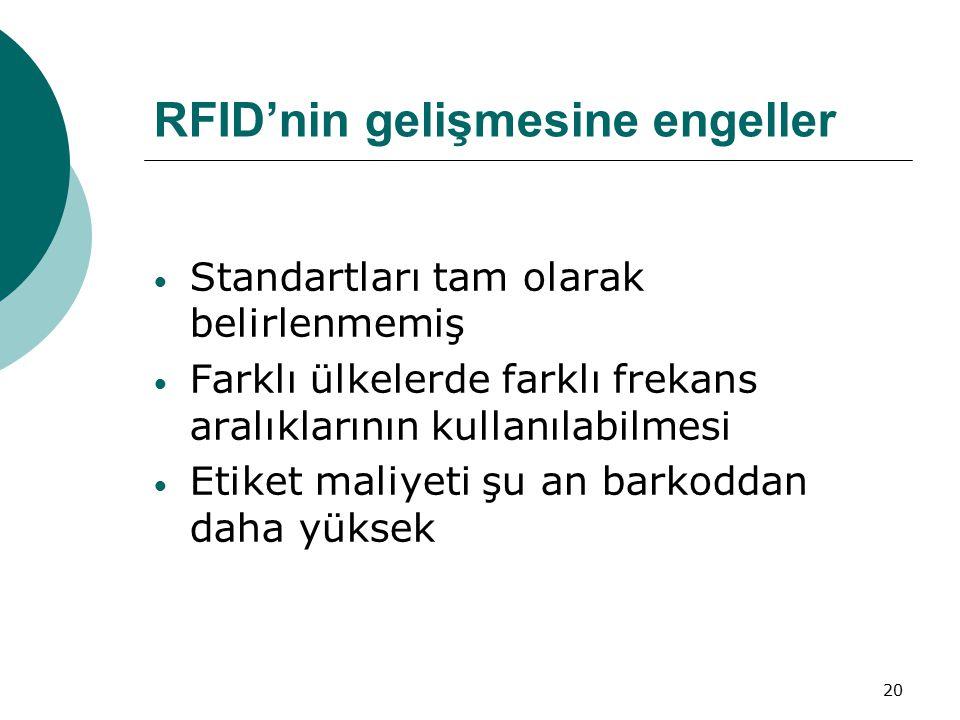 RFID'nin gelişmesine engeller