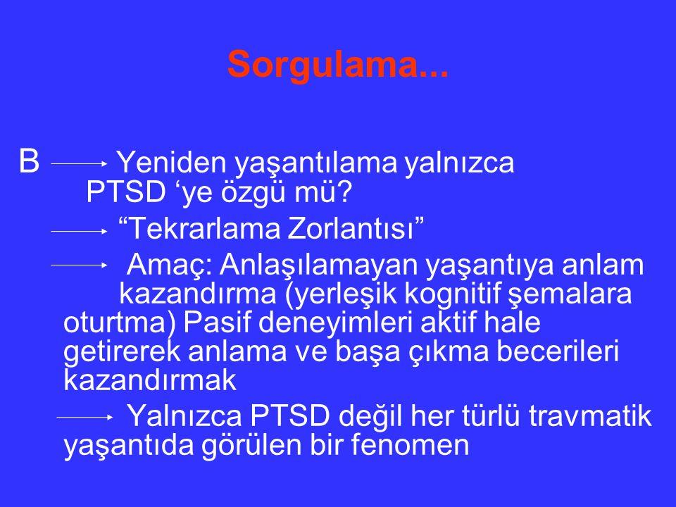 Sorgulama... B Yeniden yaşantılama yalnızca PTSD 'ye özgü mü