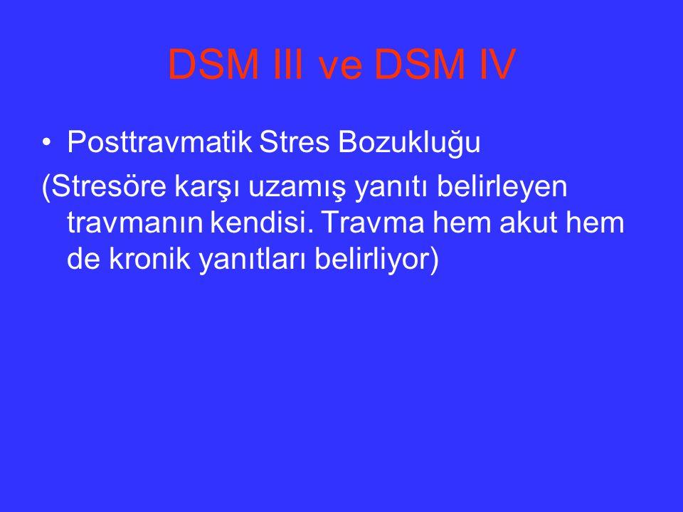 DSM III ve DSM IV Posttravmatik Stres Bozukluğu