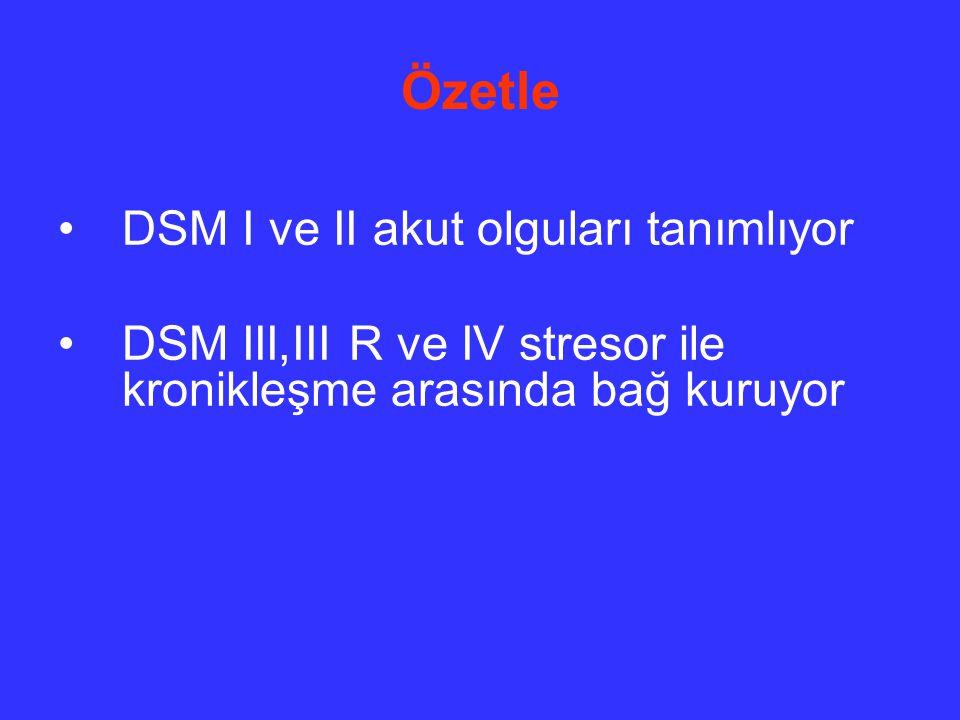 Özetle DSM I ve II akut olguları tanımlıyor