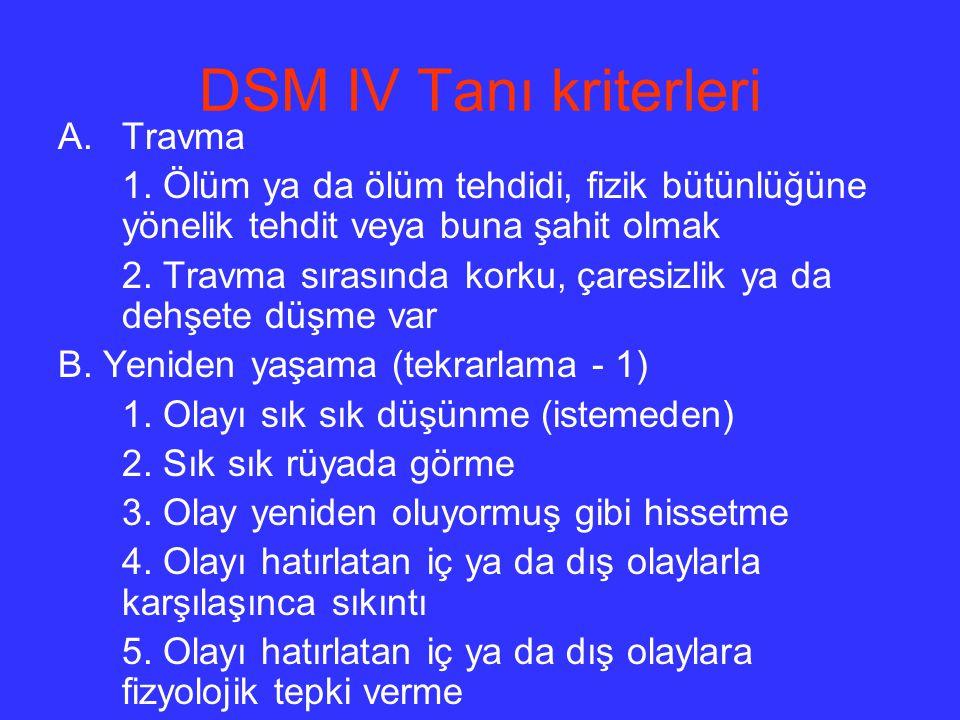DSM IV Tanı kriterleri Travma