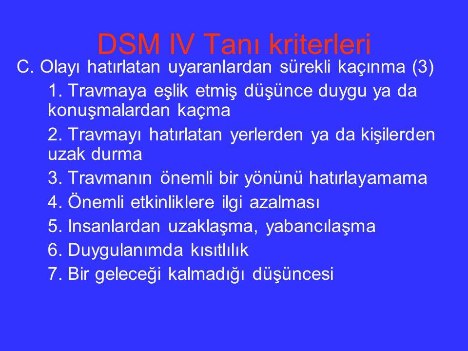 DSM IV Tanı kriterleri C. Olayı hatırlatan uyaranlardan sürekli kaçınma (3) 1. Travmaya eşlik etmiş düşünce duygu ya da konuşmalardan kaçma.