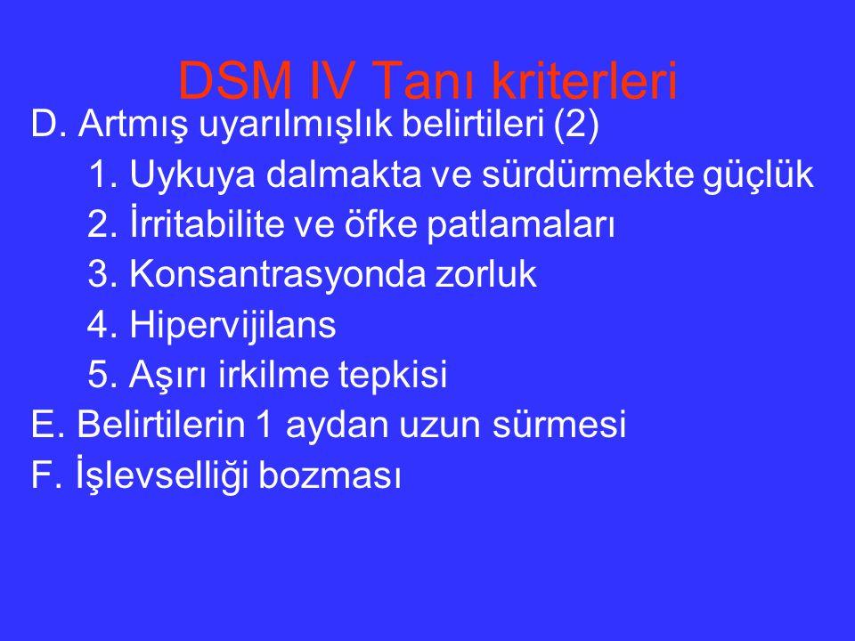 DSM IV Tanı kriterleri D. Artmış uyarılmışlık belirtileri (2)