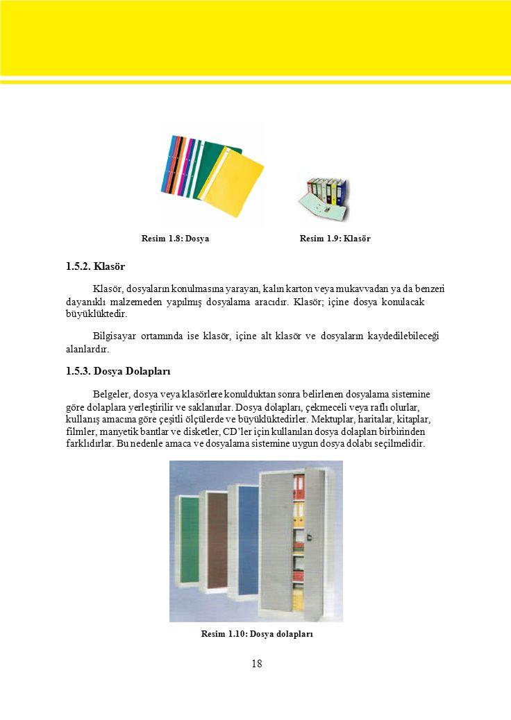 Resim 1.8: Dosya Resim 1.9: Klasör. 1.5.2. Klasör. Klasör, dosyaların konulmasına yarayan, kalın karton veya mukavvadan ya da benzeri.