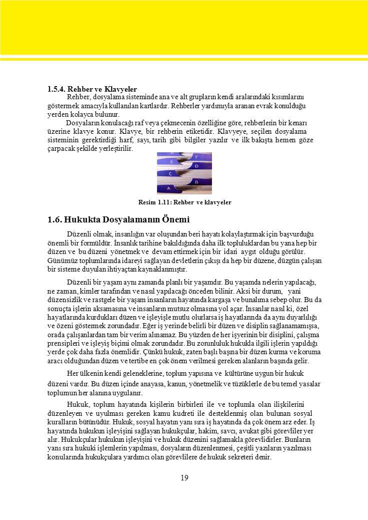 1.5.4. Rehber ve Klavyeler Rehber, dosyalama sisteminde ana ve alt grupların kendi aralarındaki kısımlarını.