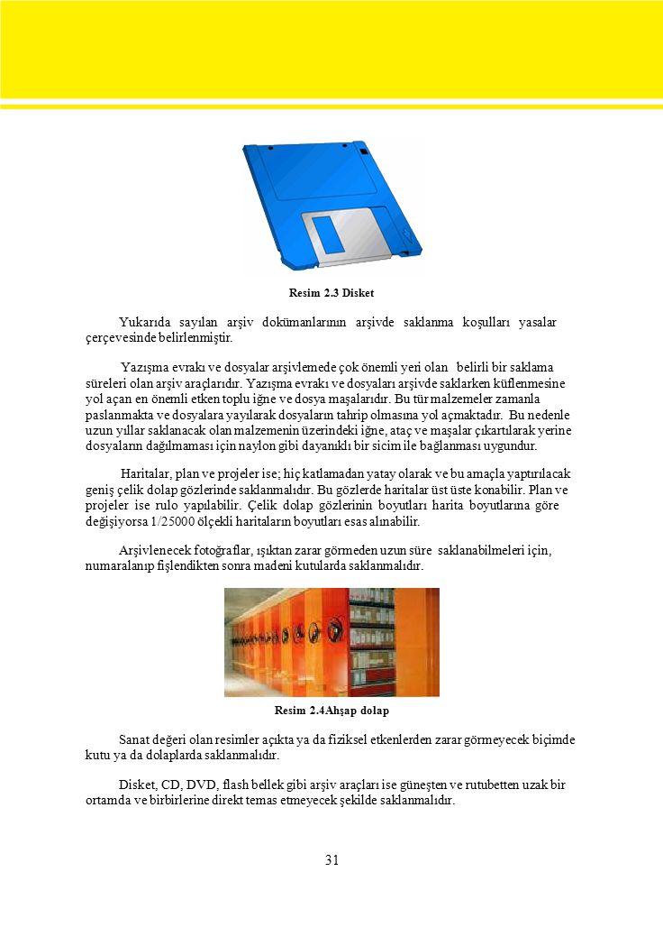 Resim 2.3 Disket Yukarıda sayılan arşiv dokümanlarının arşivde saklanma koşulları yasalar.