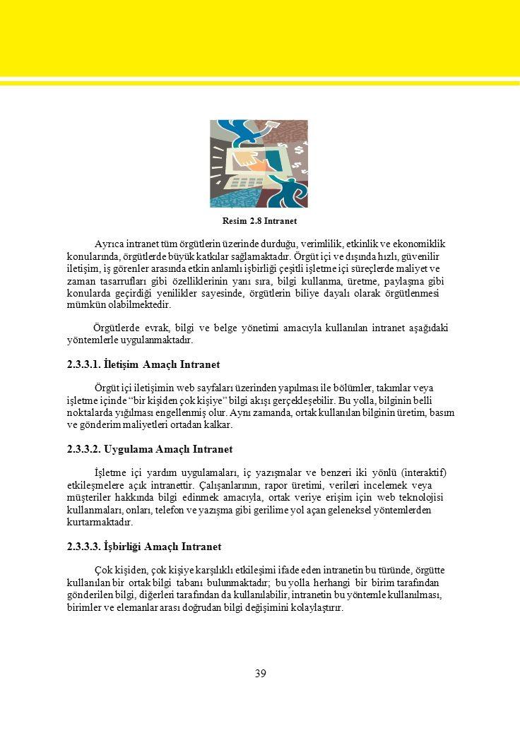 Resim 2.8 Intranet Ayrıca intranet tüm örgütlerin üzerinde durduğu, verimlilik, etkinlik ve ekonomiklik.