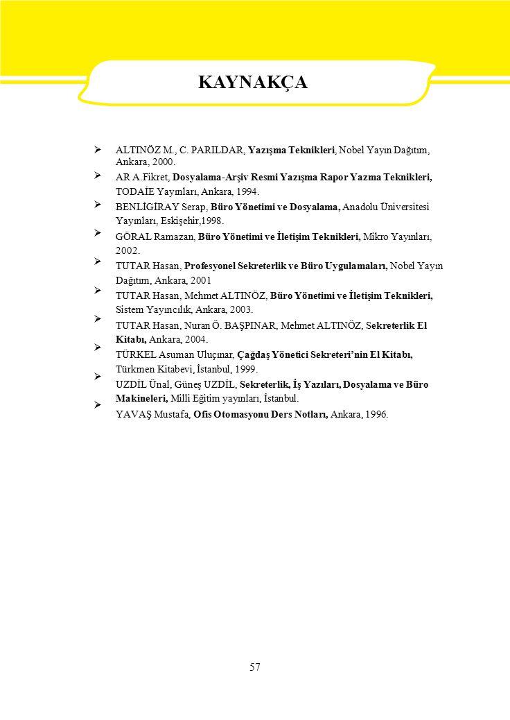 KAYNAKÇA  ALTINÖZ M., C. PARILDAR, Yazışma Teknikleri, Nobel Yayın Dağıtım, Ankara, 2000.
