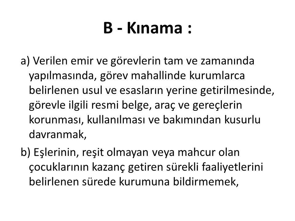 B - Kınama :
