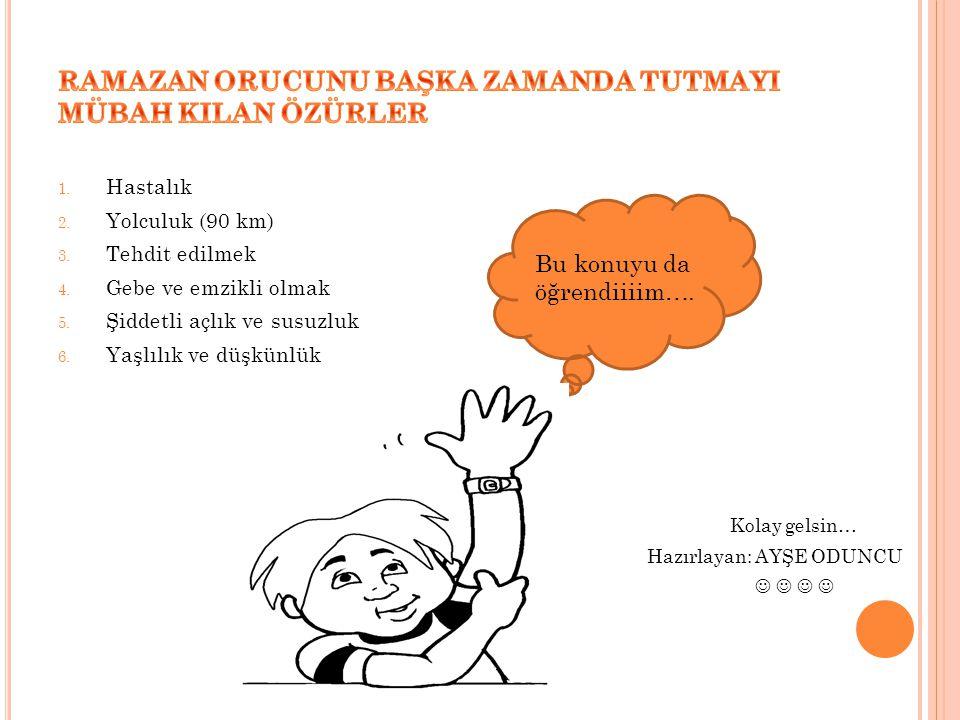 RAMAZAN ORUCUNU BAŞKA ZAMANDA TUTMAYI MÜBAH KILAN ÖZÜRLER