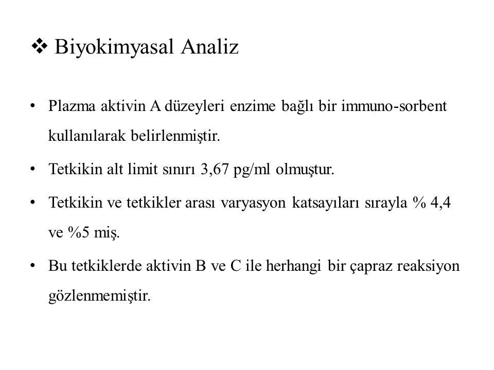 Biyokimyasal Analiz Plazma aktivin A düzeyleri enzime bağlı bir immuno-sorbent kullanılarak belirlenmiştir.