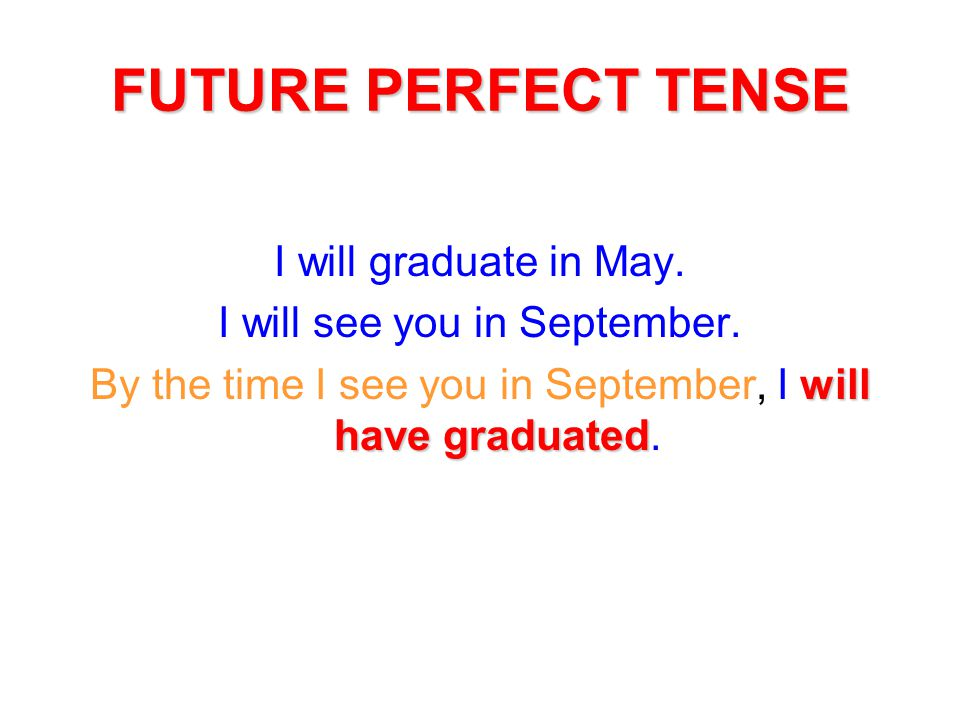 FUTURE PERFECT TENSE I will graduate in May.