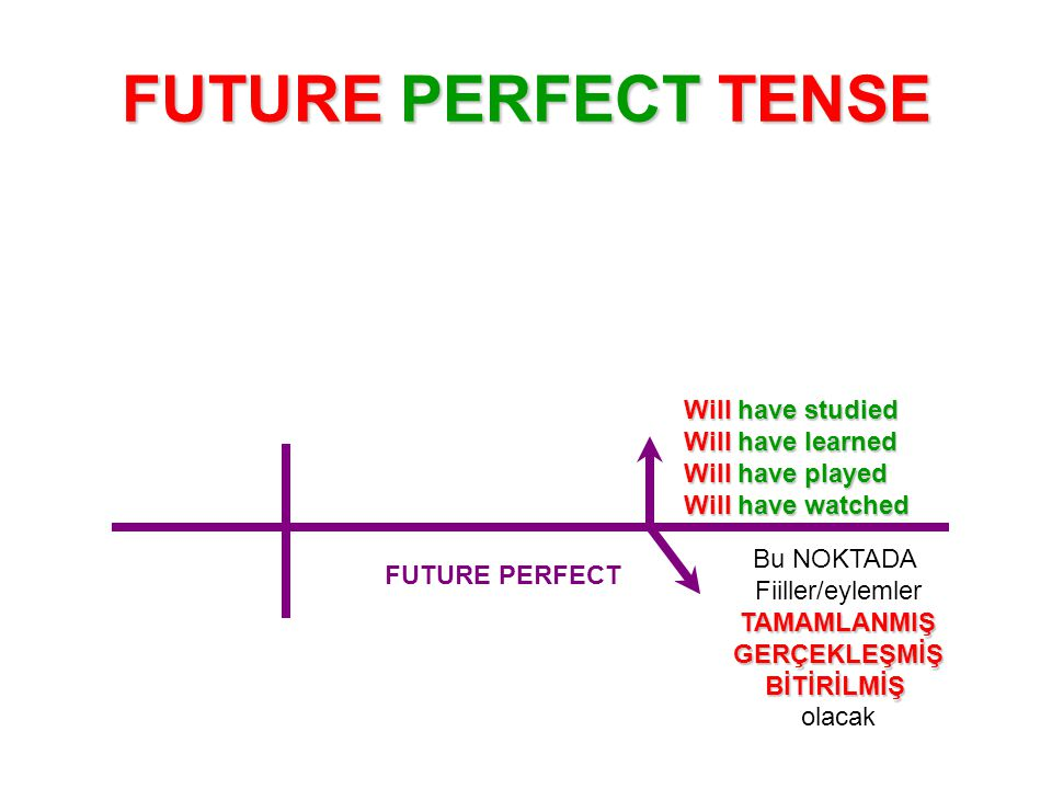 FUTURE PERFECT TENSE Will have studied Will have learned