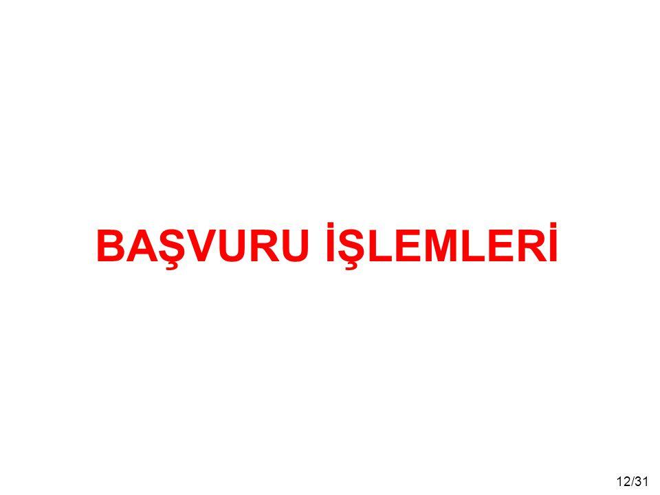 BAŞVURU İŞLEMLERİ