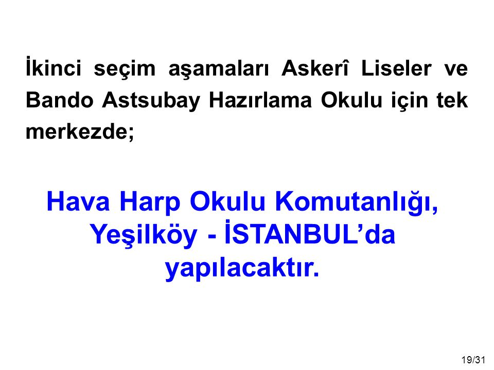 Hava Harp Okulu Komutanlığı, Yeşilköy - İSTANBUL'da