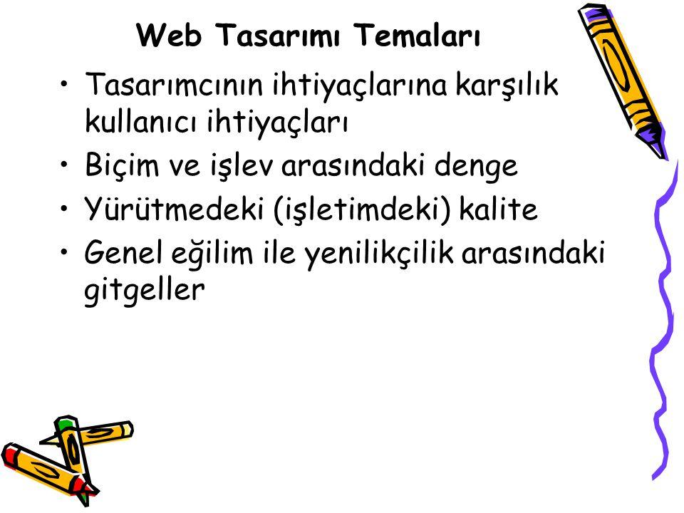 Web Tasarımı Temaları Tasarımcının ihtiyaçlarına karşılık kullanıcı ihtiyaçları. Biçim ve işlev arasındaki denge.