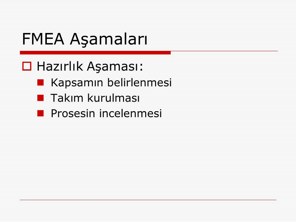 FMEA Aşamaları Hazırlık Aşaması: Kapsamın belirlenmesi Takım kurulması