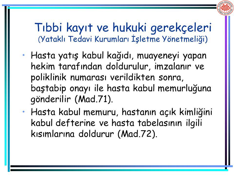 Tıbbi kayıt ve hukuki gerekçeleri (Yataklı Tedavi Kurumları İşletme Yönetmeliği)