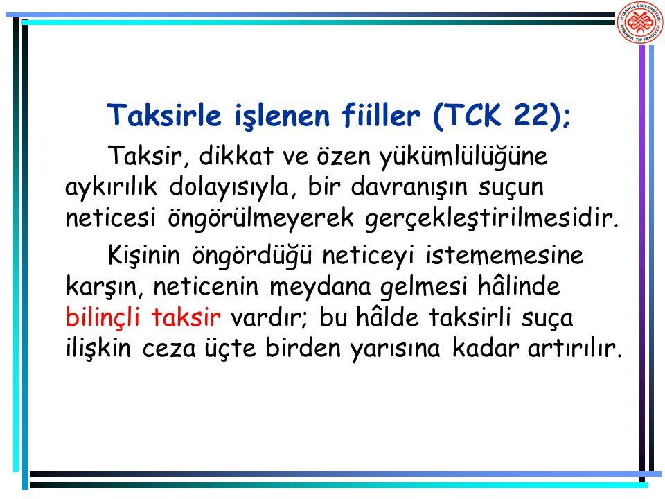Taksirle işlenen fiiller (TCK 22);