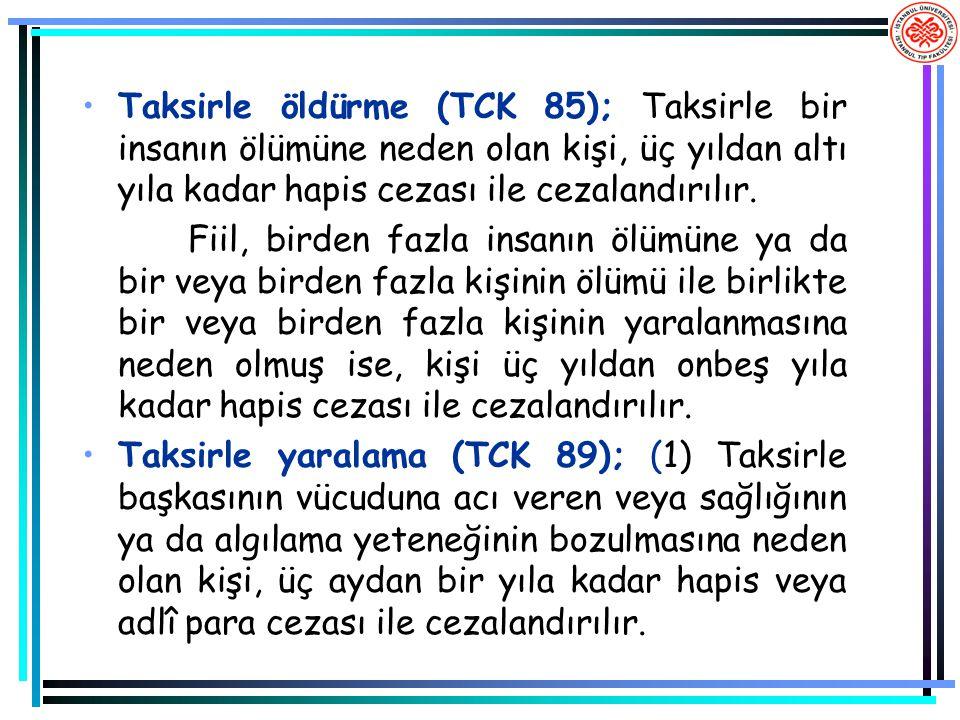 Taksirle öldürme (TCK 85); Taksirle bir insanın ölümüne neden olan kişi, üç yıldan altı yıla kadar hapis cezası ile cezalandırılır.
