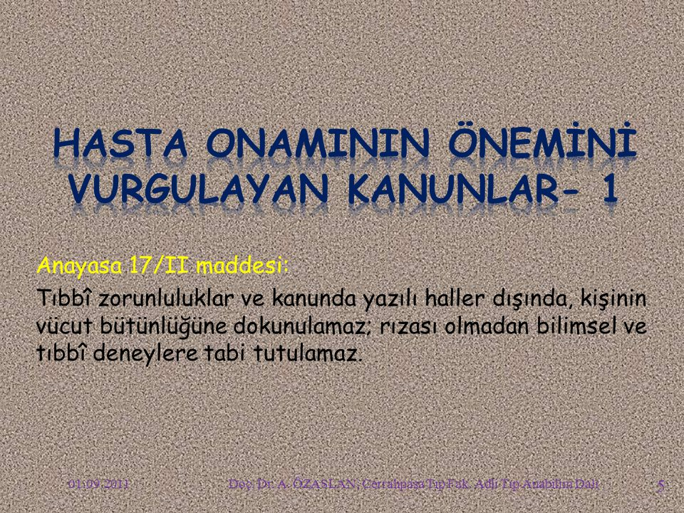 HASTA ONAMININ ÖNEMİNİ VURGULAYAN KANUNLAR- 1