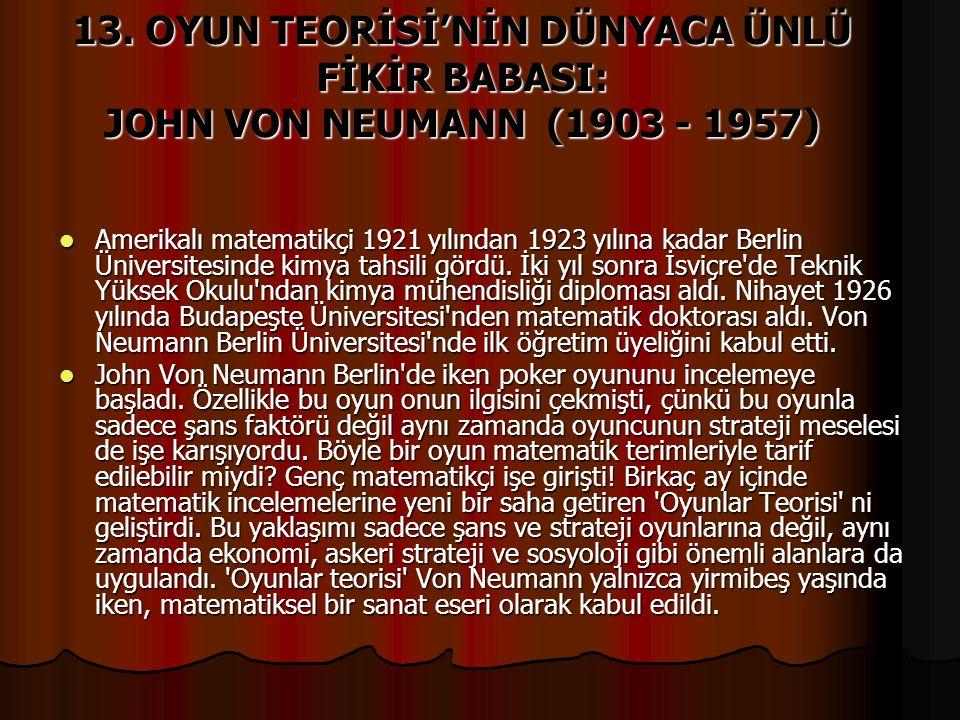 13. OYUN TEORİSİ'NİN DÜNYACA ÜNLÜ FİKİR BABASI: JOHN VON NEUMANN (1903 - 1957)