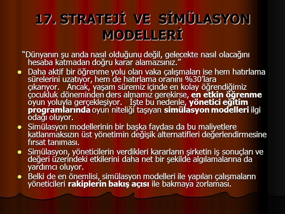 17. STRATEJİ VE SİMÜLASYON MODELLERİ